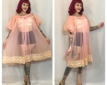 Vintage 1960's Sheer Pink Negligee / Lingerie Cover Up
