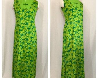 Vintage 1960's Green Floral Hawaiian Maxi Dress with Toggle Collar