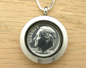For 70th: 1947 US Dime Locket Necklace 70th Birthday Gift Coin Jewelry