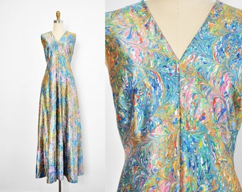 Vintage 1970's Marbled Paint Print Maxi Dress