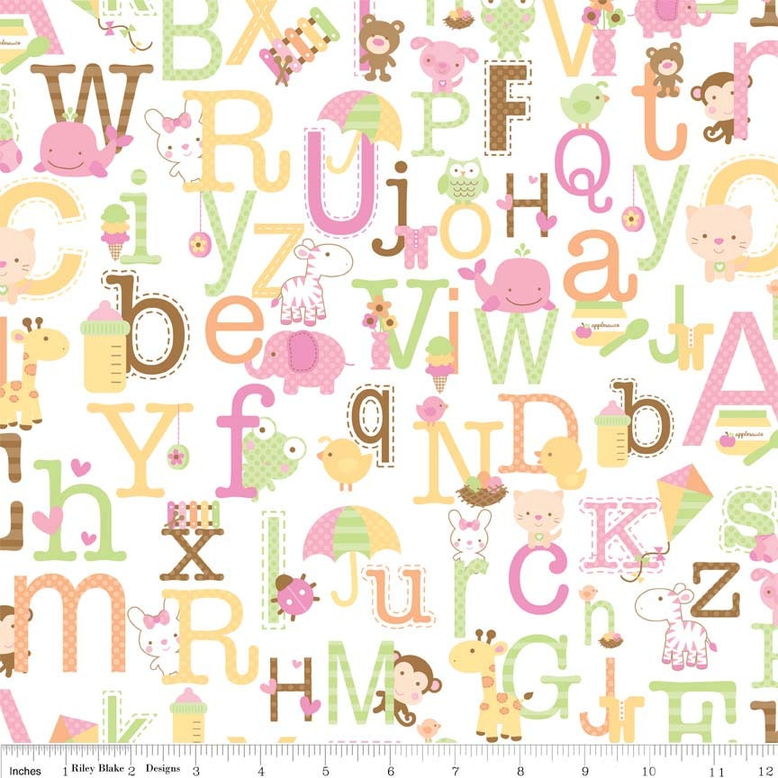 Alphabet fabric riley blake sweet baby girl by for Baby girl fabric