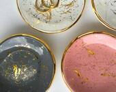 "Gold ""Splatter Paint"" Ring Dish - Modern Pottery, party favors, Tea Light Holder, Jewelry Dish, Bridesmaid Wedding Favors"