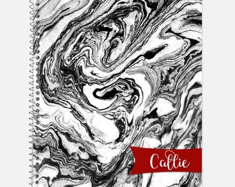 Black and White Marble Notebook, Waterproof Cover, Journal, Personalized Notebook, School Supplies, Marble Look Notebook, College Ruled