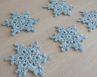 5 Snowflake Stars Crocheted Christmas Ornaments Applique