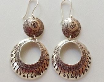 Tibetan Vintage Sterling Silver Stamped Dangle Earrings