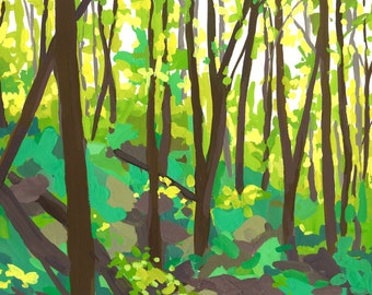 Forest People - Archival Print, modern landscape, nature, tree print