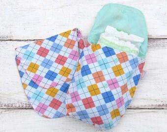 SALE 25% OFF Argyle Diaper Clutch | Nappy Clutch | Small Diaper Bag | Diaper Pouch | Changing Clutch Bag | Diaper Case | Diaper Wallet
