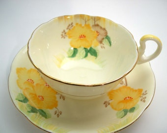 Antique 1930's Royal Grafton Tea Cup & Saucer , Handpainted Grafton floral tea cup and saucer.
