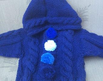 Blue baby boy jacket, baby shower gift