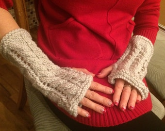 40%OFF, Romantic oatmeal knit long lace gloves, wool arm warmers