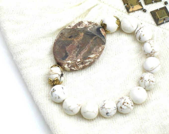 Bead  Bracelet in White and Brown with Earthy Rustic Agate and Howlite