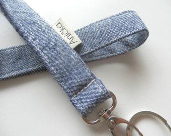 Lanyard/ ID holder/Neck strap/Key chain-Denim