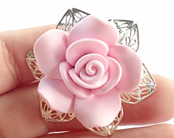 Pink rose ring, filigree band ring