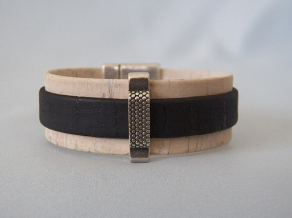 taupe and black cork tiered bracelet