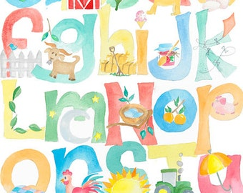 Farm ABC Alphabet Watercolor