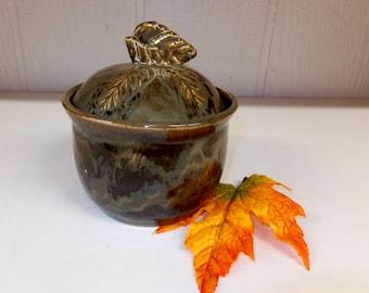 Golden Moss Brown Leaf Sugar Jar with Leaf Knob