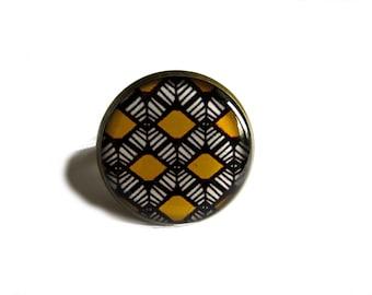 Ethnic Ring, african Ring, Geometric Ring, geometric jewelry, african jewelry, Ethnic jewelry, Adjustable Ring, Statement Ring, yellow Ring