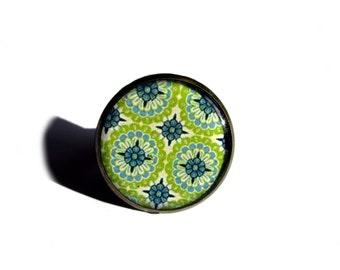 ORNATE GREEN ART Ring - Green Moroccan tile Ring - Moroccan tile design - ornate tile ring