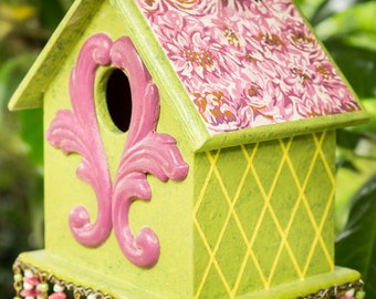 Hand Painted Pink and Lime Green Birdhouse, Handpainted Floral Bird House
