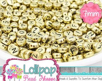 7mm GOLD ALPHABET Beads Letter Beads Mixed Letters Antique Gold Round Flat Gold Plated Acrylic Letters For Stretchy Name Bracelets