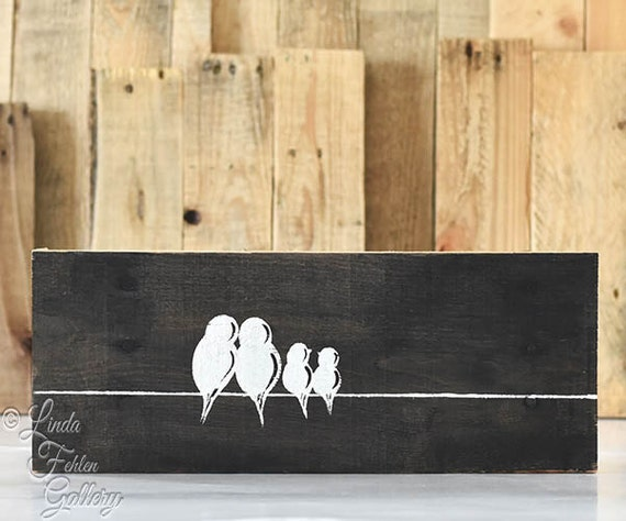 Bird Family Wood Sign 5th Anniversary Gift By