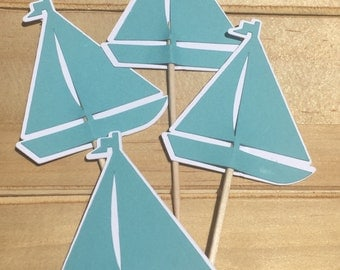 Sailboat Cupcake Toppers - Set of 12 - Sailing Party, Beach Theme, Ocean wedding, Transportation Theme, Birthday Party, Boat Cupcakes