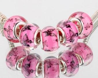 Pink Buttefly Acrylic European Beads - 10 beads