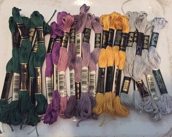 DMC Embroidery Floss Assorted Colors  20 + Total Pieces
