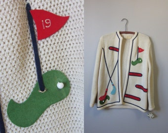 1950s hand loomed golf cardigan | 50's mid century novelty | M to L