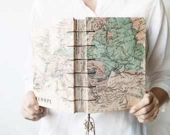 Large Travel Journal, Notebook, Sketchbook - Europe Map