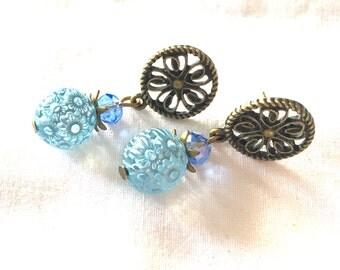earrings water flower blue