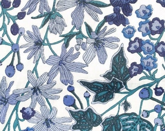 "Liberty of London Fabric Scrap ""Edna"" in Blue and White Cotton Tana Lawn 5 x 26"""