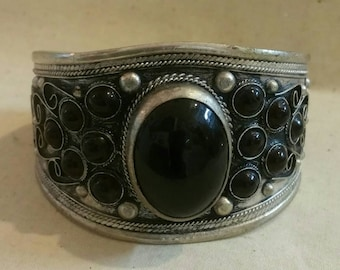 Silver Cuff Bracelet with Large Black Center Onyx