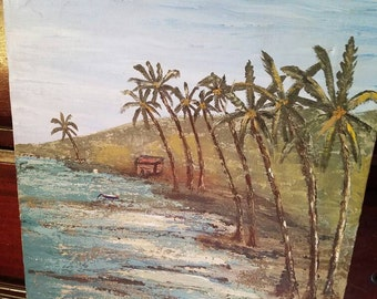 On sale- vintage beach painting- ocean- sea- shore- palm trees- relaxation- hand painted- unique- beautiful gift- palms- shore- unique