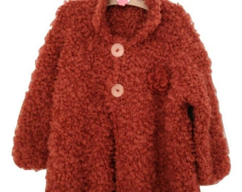 Long Sleeve Orange Cardigan, Girl Coats, Jacket, Baby Sweater, Wood Buttons, Hand Knit, Ready to Ship