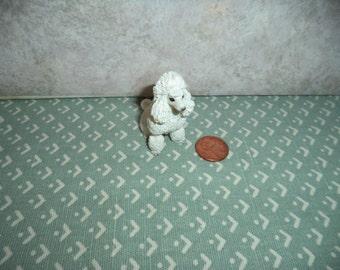 1:12 scale Dollhouse miniature Standard size white poodle