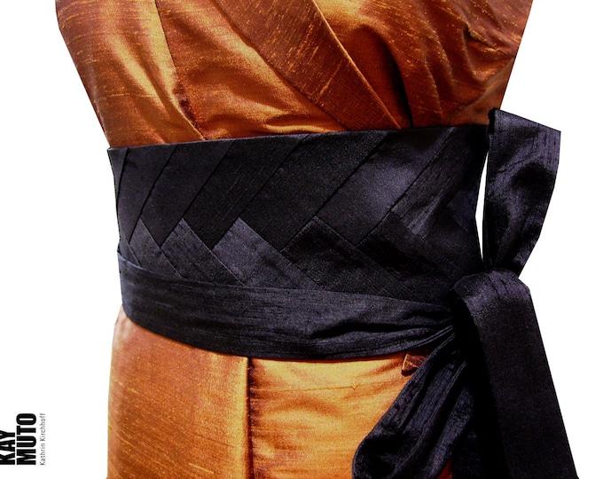 Obi belt sash INTARSIA BLACK raw silk