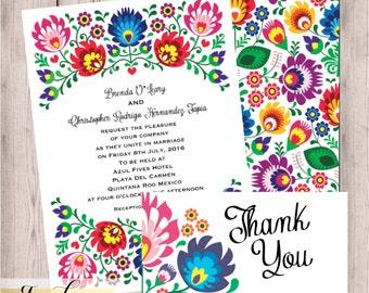 Floral, Folk, Fiesta, Wedding Invitation, Fiesta Wedding Invitation,  Hispanic, Mexican