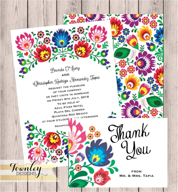 mexican wedding invitations floral folk wedding invitation wedding 5862