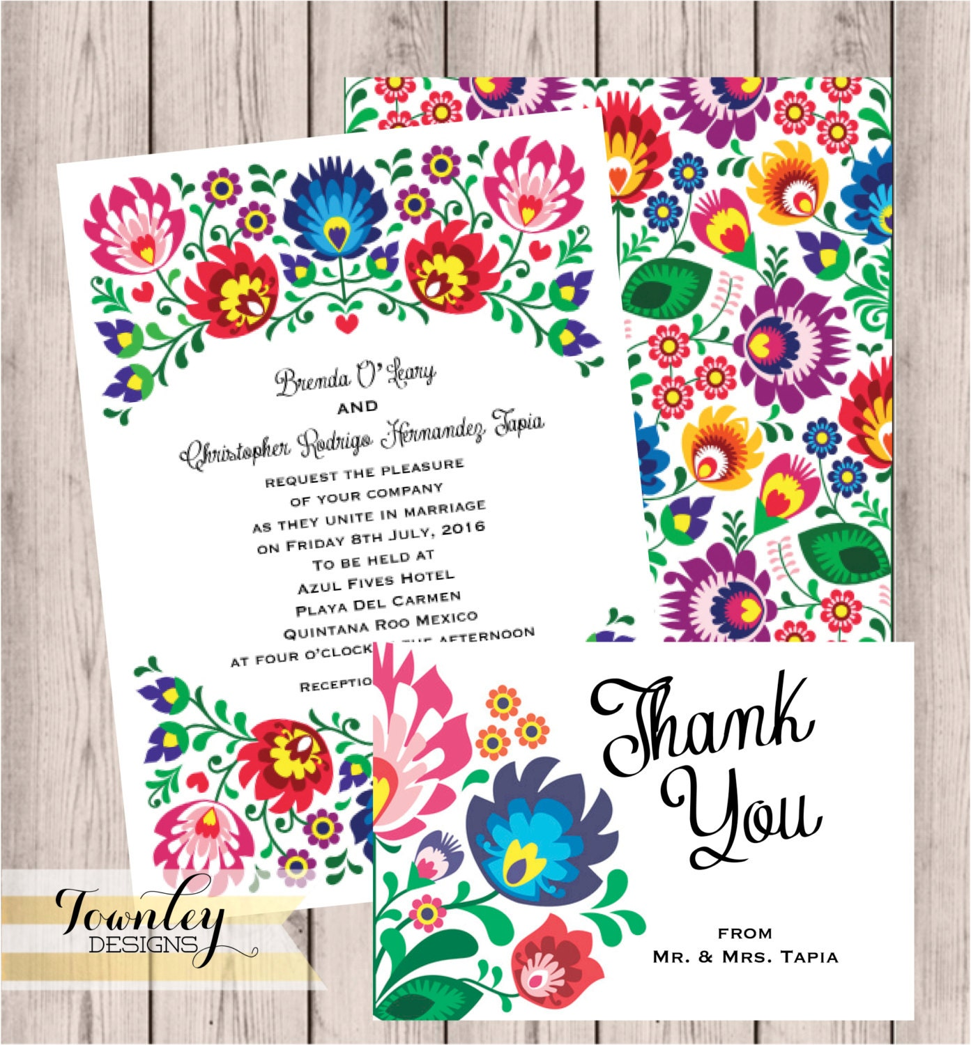 floral folk fiesta wedding invitation fiesta by townleydesigns, Wedding invitations