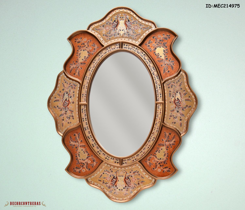 Espejo decorativo oval fenix marco de madera y for Espejos redondos en la pared