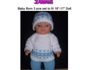 Baby Born Knitting Pattern DAVID fits 16 to 17 inch dolls (pattern only)