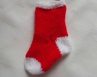 Knitted mini stocking, Christmas tree decoration, Christmas tree ornament, tree decor, stocking stuffer