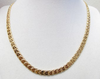 Vintage Chain Necklace Stamped DM Gold tone Fancy Heart Link Chain Necklace 19 inches in Length Featuring Stunning Details