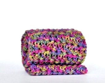 Multicolored Crochet Infinity Scarf Circle Scarf Neckwarmer Cowl