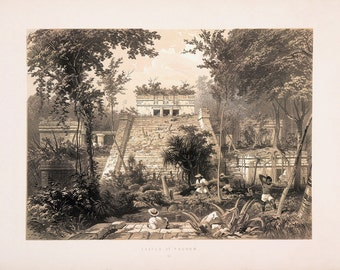 "Frederick Catherwood : ""Castle at Tuloom (Mayan)"" (Views of Ancient Monuments in Central America, 1844) - Giclee Fine Art Print"