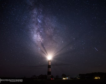 Starry Night | Bodie Island Lighthouse and Meteor