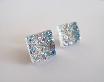 Sparkly Gray Druzy Stud Earrings - Hypoallergenic Surgical Steel Posts