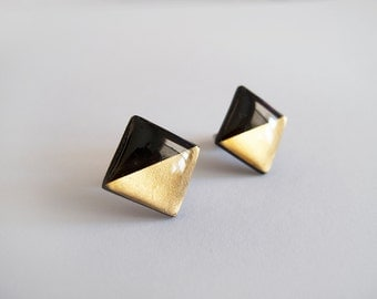 Black Gold Square Stud Earrings - Hypoallergenic Surgical Steel Posts