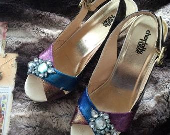Jeweled Sandal Pumps